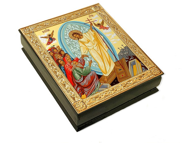 Wooden Icon Box, Resurrection Descent, large