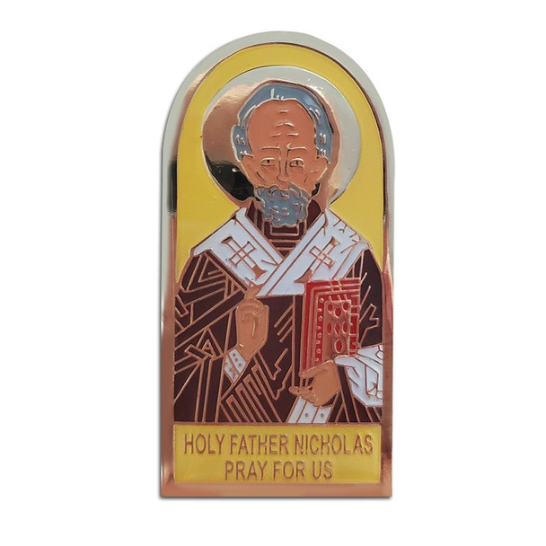 Auto Visor Clip, St. Nicholas icon with yellow background