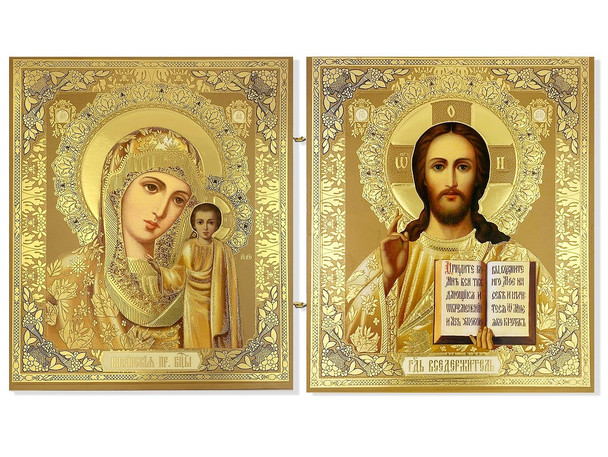 Diptych: Vigin of Kazan and Christ Blessing, medium icons
