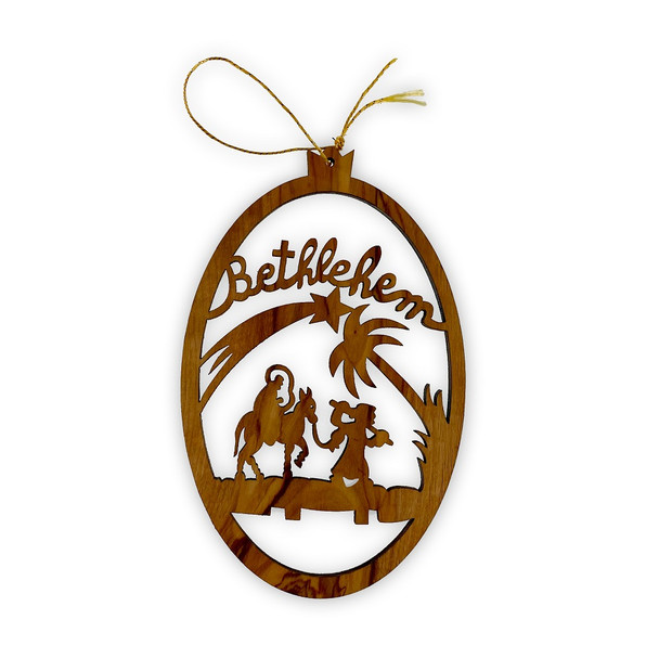 Ornament, Olive wood oval with Flight to Egypt