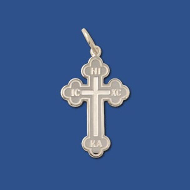 Baptismal Cross, sterling silver, medium, in the Greek Orthodox style