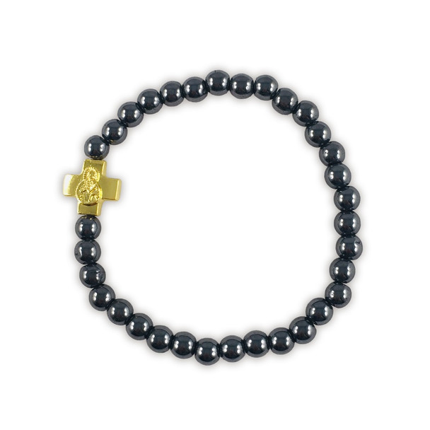 Prayer Bracelet with small gold-tone cross and black hematite beads