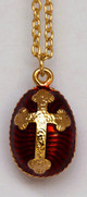 Front Egg Pendant, Fabergé style with budded cross, red, chain included