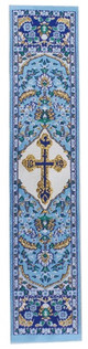 Tapestry bookmark, blue with St Xenia cross