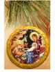 Ornament, Nativity icon on gold, Ukrainian, on Christmas tree