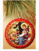Ornament, Nativity icon on red, Ukrainian, decorating tree
