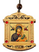 Ornament, Perpetual Help with incense close view