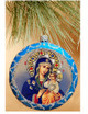 Ornament, Eternal Bloom on blue with silver accents, Ukrainian, decorating tree