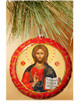 Ornament, Jesus Christ on red with gold accents, Ukrainian, Christmas ornament on tree