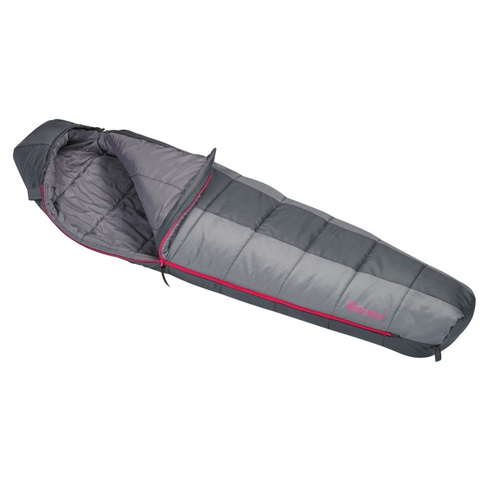 Slumberjack Women's Boundary 20 Degree Sleeping Bag, half and half light grey and dark grey coloring. Shown unzipped and open a quarter of the way to reveal light grey interior.