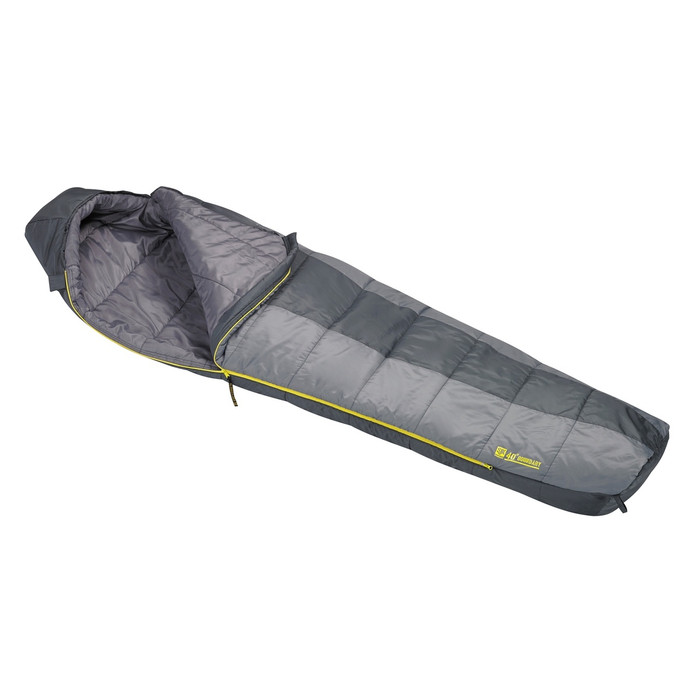 Slumberjack Boundary 40 degree sleeping bag, half and half light grey and dark grey coloring. Shown unzipped and open a quarter of the way to reveal light grey interior.