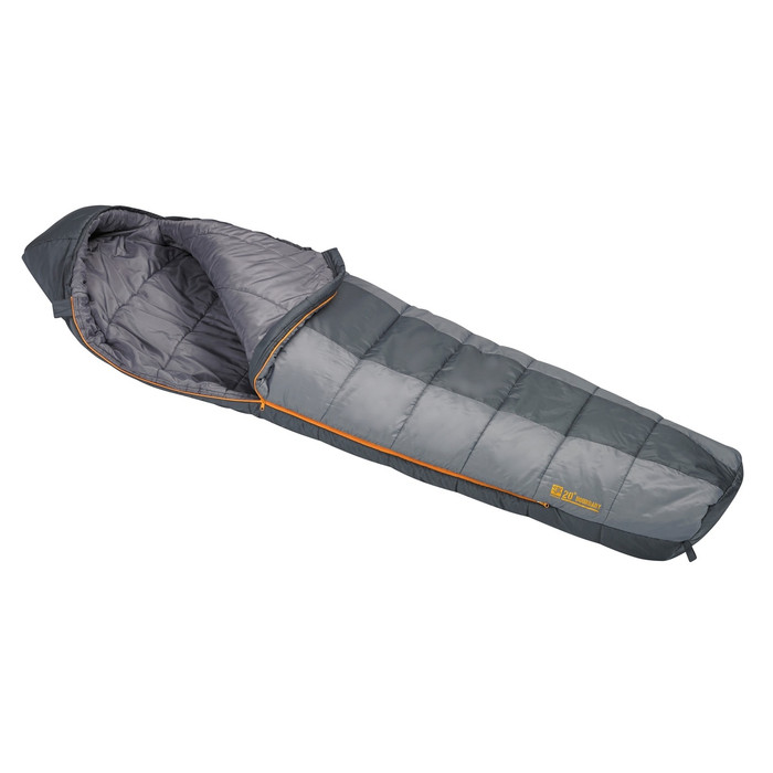 Slumberjack Boundary 20 degree sleeping bag, half and half light grey and dark grey coloring. Shown unzipped and open a quarter of the way to reveal light grey interior.