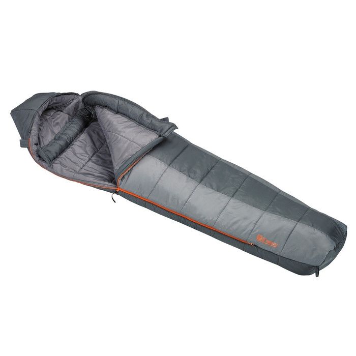 Slumberjack Boundary 0 degree sleeping bag, half and half light grey and dark grey coloring. Shown unzipped and open a quarter of the way to reveal light grey interior.