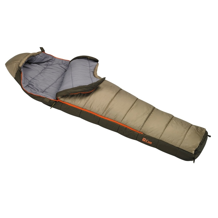 Slumberjack Ronin 0 Degree Sleeping Bag. Top is light brown and bottom half is dark brown. Bag is shown partially unzipped with top pulled back, exposing the light gray interior.