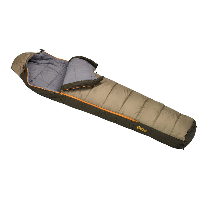 Slumberjack Ronin 20 Degree Sleeping Bag. Top is light brown and bottom half is dark brown. Bag is shown partially unzipped with top pulled back, exposing the light gray interior.
