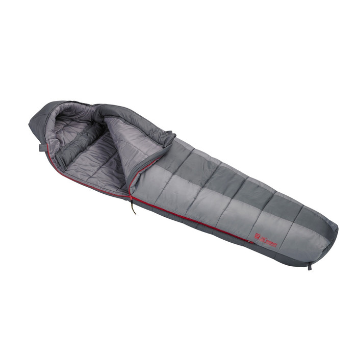 Slumberjack Boundary -20 degree sleeping bag, half and half light grey and dark grey coloring. Shown unzipped and open a quarter of the way to reveal light grey interior.