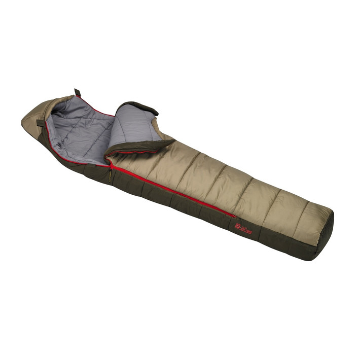 Slumberjack Ronin -20 Degree Sleeping Bag. Top is light brown and bottom half is dark brown. Bag is shown partially unzipped with top pulled back, exposing the light gray interior.