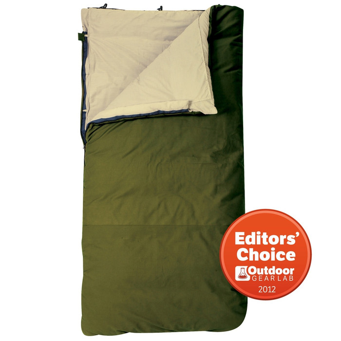 Slumberjack Country Squire 0 degree sleeping bag, forest green. Shown unzipped and open a quarter of the way to reveal an off white interior.