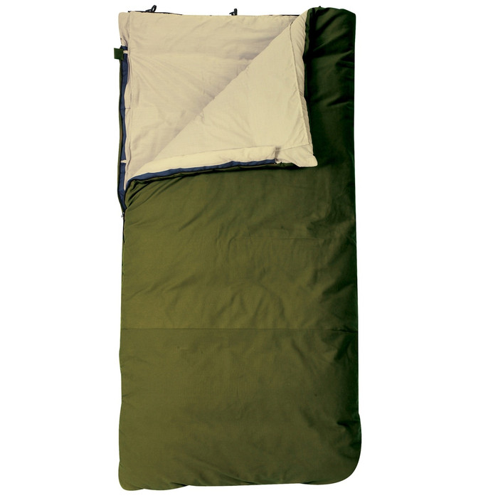 Slumberjack Country Squire 20 degree sleeping bag in forest green. Shown unzipped and open a quarter of the way to reveal an off white interior interior.