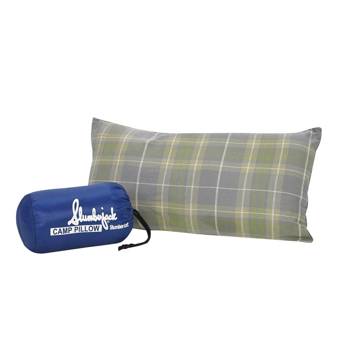 Slumberjack Slumbersoft Pillow, in gray and light green plaid. Image shows pillow fully expanded and compressed into the included  stuff sack.