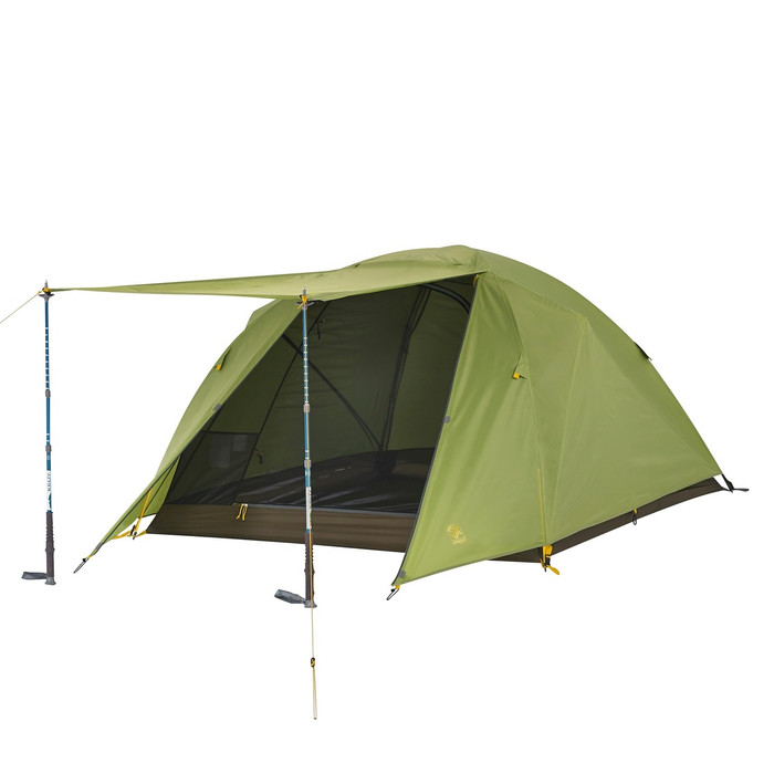 Slumberjack Daybreak 3 person tent with fly on. Front of fly is shown open, held up by trekking poles. Tent fly is light green. Trekking poles not included.