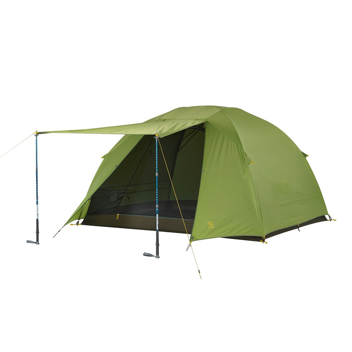 Slumberjack Daybreak 4 person tent with fly on. Front of fly is shown open, held up by trekking poles. Tent fly is light green. Trekking poles not included.