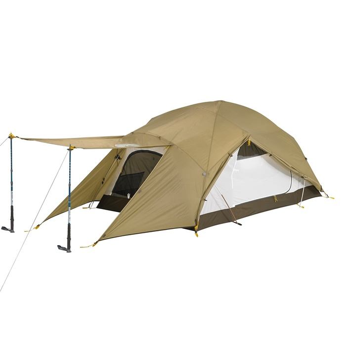 Slumberjack In-Season 2 person tent with tan rain fly and off-white tent body. Tent is shown with rain fly on, pulled back to show side window. The fly is also open at the front, held up by two trekking poles, showing the front door.