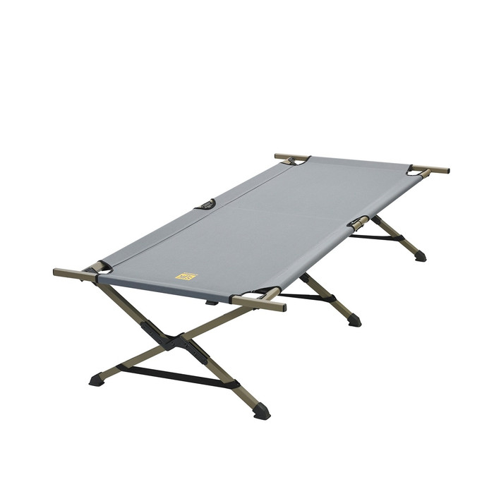 Slumberjack emergency cot in grey. Cot is unfolded and shown standing on its 6 legs.