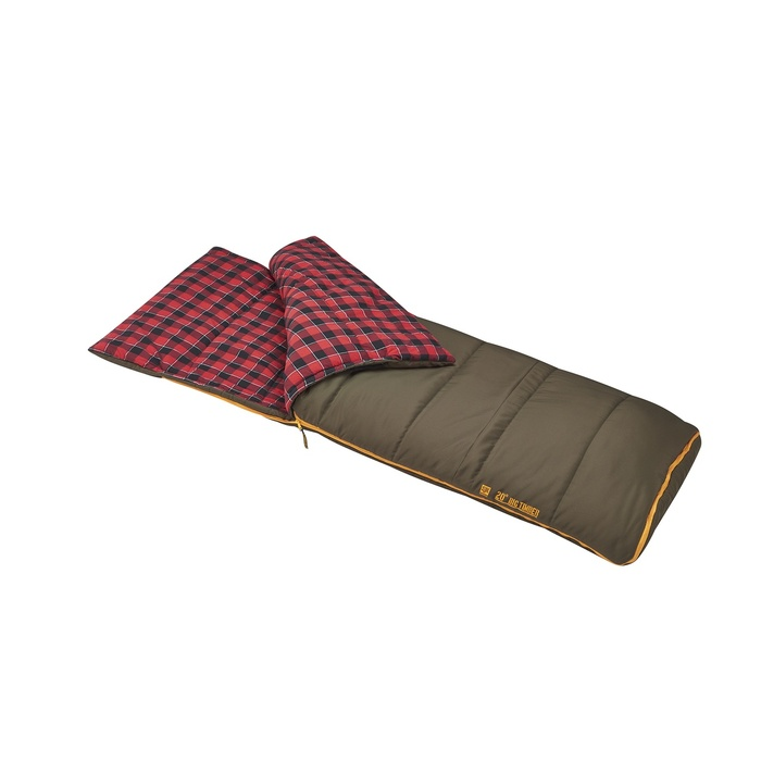 Slumberjack Big Timber Pro 20 degree sleeping bag, olive green color. Shown unzipped and open a quarter of the way to reveal a red and black plaid interior.