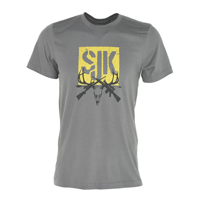 Front view of Slumberjack T-Shirt with hand-drawn SJK logo, modern fit, crew neck and short sleeve tee in Gray.