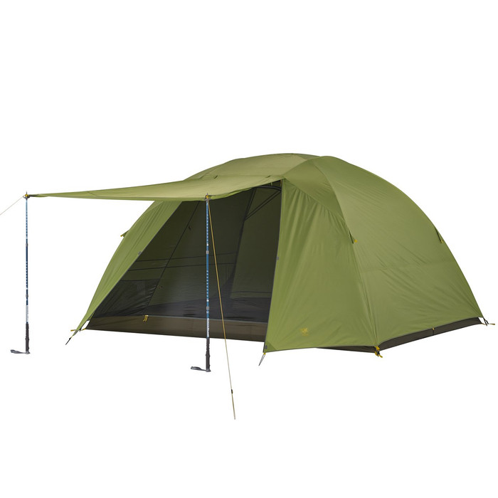 Slumberjack Daybreak 6 person tent with fly on. Front of fly is shown open, held up by trekking poles. Tent fly is light green. Trekking poles not included.