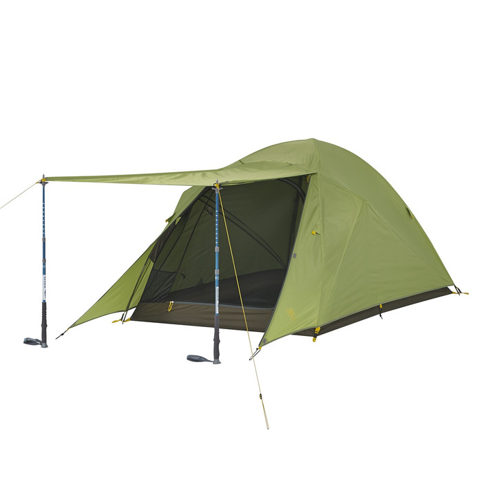 Slumberjack Daybreak 2 person tent with fly on. Front of fly is shown open, held up by trekking poles. Tent fly is light green. Trekking poles not included.