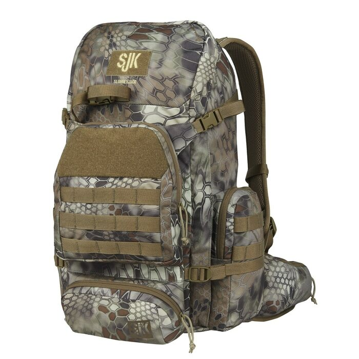 Hone backpack in Kryptek Highlander Camouflage.  Front View of pack showing front and side accessories pockets.