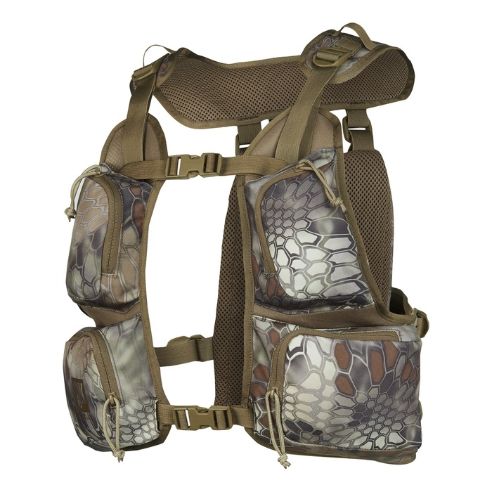 Slumberjack Pursuit Hunting Vest in Kryptek Highlander camouflage. Image of the vest is from the front, displaying its four large chest storage pockets