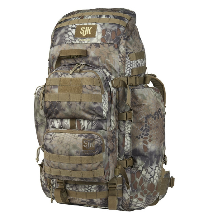 Slumberjack Bounty 2.0 backpack with Kryptek Highlander camo pattern, front view.