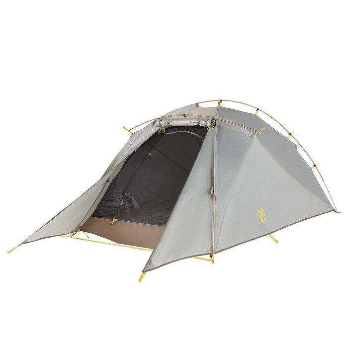 Slumberjack Nightfall 2 Person Tent with light grey fly. Fly is partially on, with section in front of door rolled up to show light brown interior.