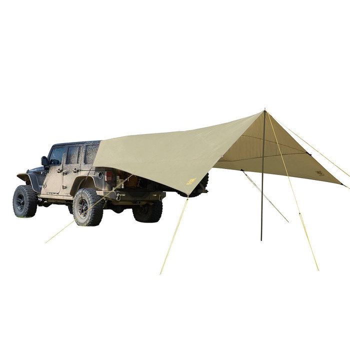 "Sage - Slumberjack Roadhouse Tarp in Tan. Image shows tarp attached to the back of a Jeep Wrangler, fully setup. Single pole ""A-frame"" set up with vehicle."