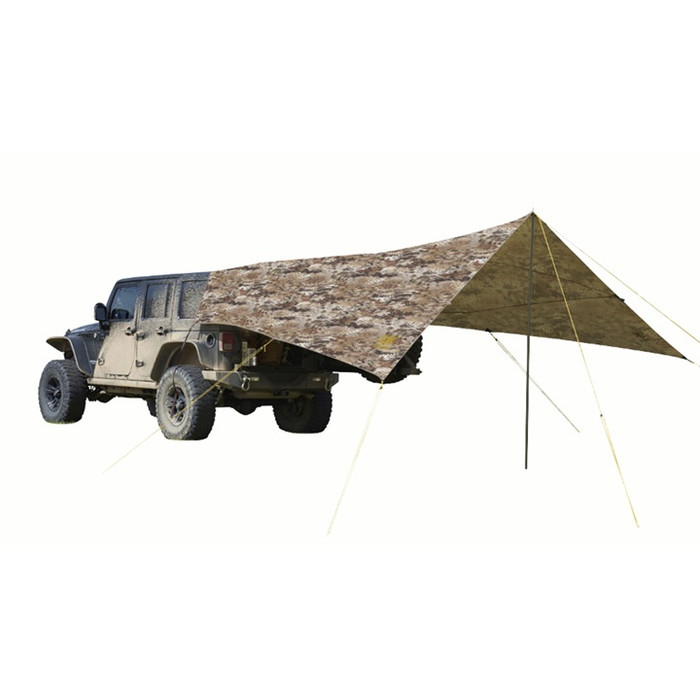 "Slumberjack Roadhouse Tarp in Highlander Camo. Image shows tarp attached to the back of a Jeep Wrangler, fully setup. Single pole ""A-frame"" set up with vehicle."