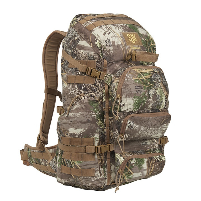 Slumberjack Carbine backpack in Realtree Max1 camouflage.  Front View of pack showing top, side and front of pack pockets.