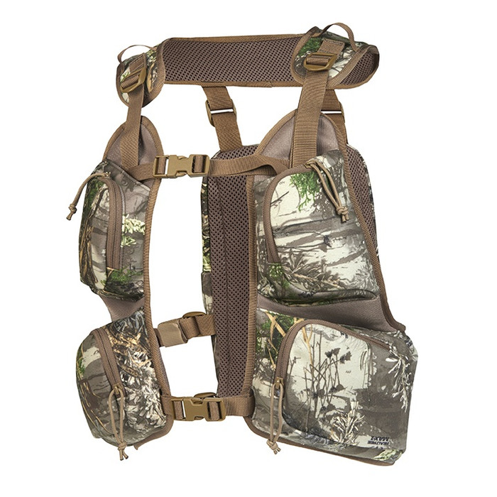 Slumberjack Pursuit Hunting Vest in Realtree Max 1 camouflage. Image of the vest is from the front, displaying its four large chest storage pockets