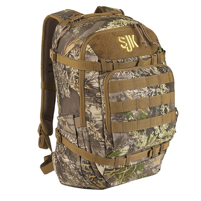 Slumberjack Gunflint Max1 Backpack in Realtree camouflage. Front View of pack showing top, side and front of pack pockets.