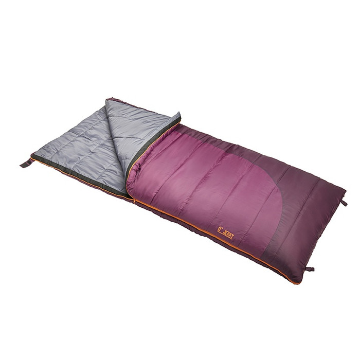 Slumberjack Jenny 0 Degree Sleeping Bag in Purple. Shown unzipped a quarter of the way and folded back, exposing the grey interior.