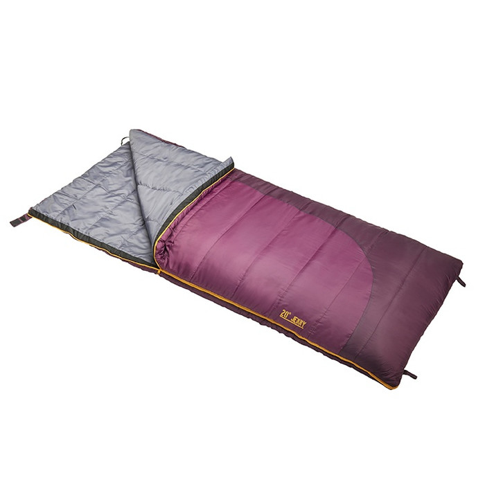 Slumberjack Jenny 20 Degree Sleeping Bag in Purple. Shown unzipped a quarter of the way and folded back, exposing the grey interior.
