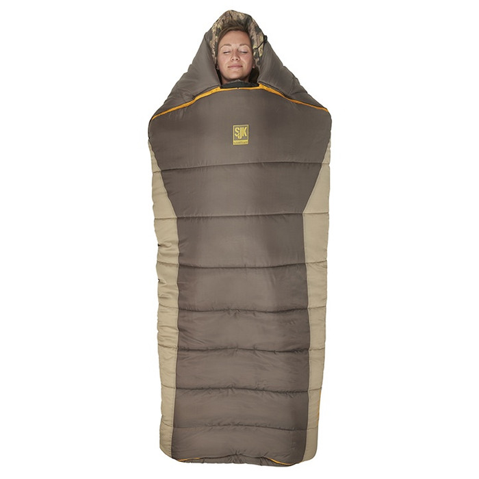 Slumberjack Wheeler Lake 20 Degree Sleeping Bag, dark brown upper with light brown along the sides. Bag is shown zipped up and closed.
