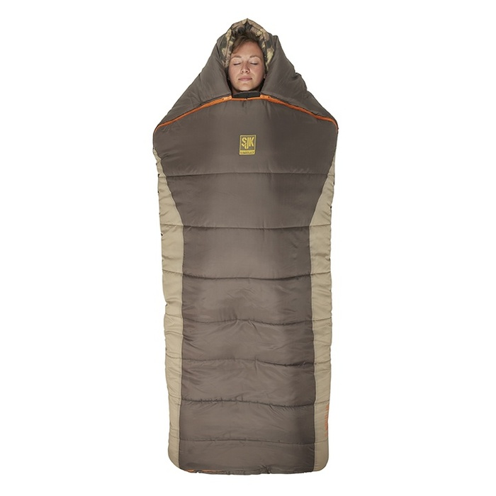 Slumberjack Wheeler Lake 0 Degree Sleeping Bag, dark brown upper with light brown along the sides. Bag is shown zipped up and closed.