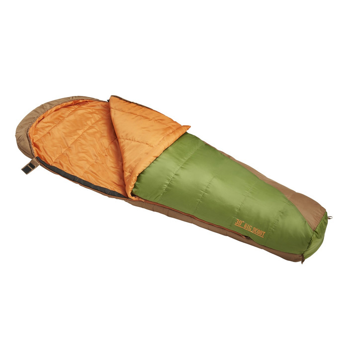 Slumberjack Big Scout 30 degree sleeping bag, in light green. Shown unzipped and open a quarter of the way to reveal light orange interior.