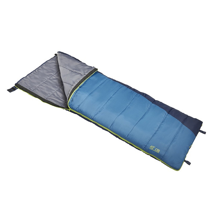 Slumberjack Cub 40 degree sleeping bag in light blue. Shown unzipped and open a quarter of the way to reveal a light grey interior.