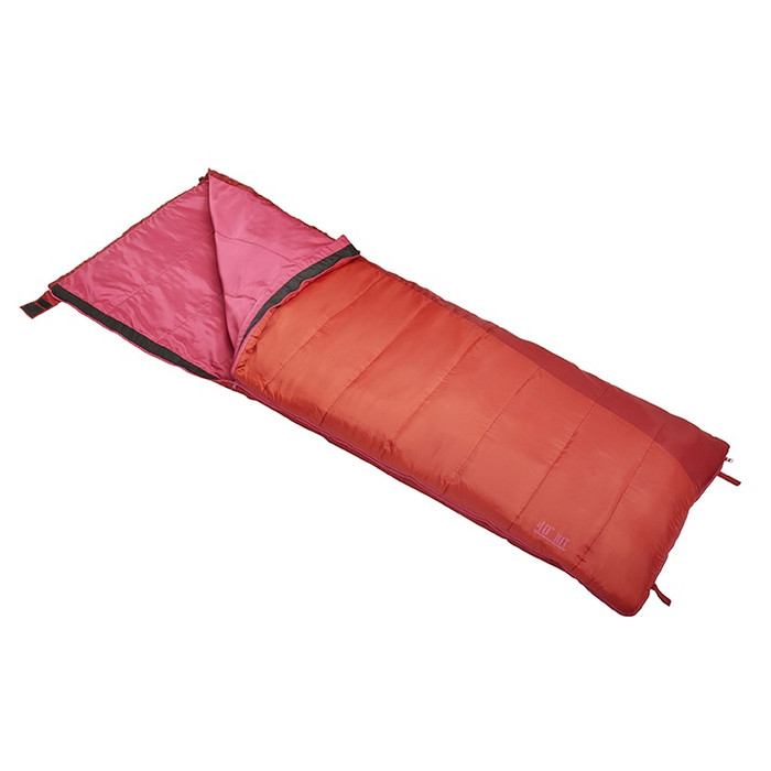 Slumberjack Kit 40 Degree Sleeping Bag in Orange. Shown unzipped a quarter of the way and folded back, exposing the pink interior.