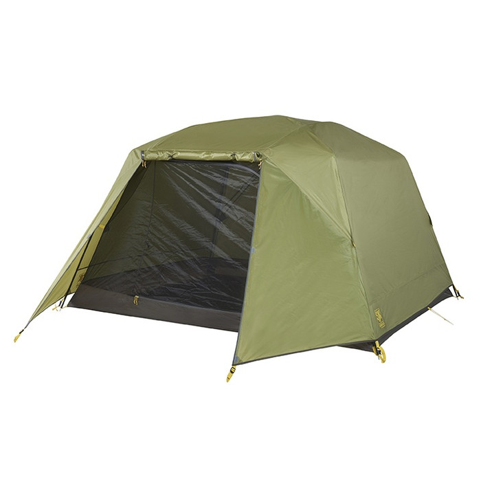 Slumberjack Roughhouse 4 Person Tent with green fly. Fly is partially on, with section in front of door rolled up to show dark brown flooring and interior.