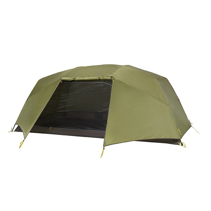 Slumberjack Roughhouse 6 Person Tent with green fly. Fly is partially on, with section in front of door rolled up to show dark brown flooring and interior.